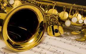 Картинка саксофон, ноты, музыка