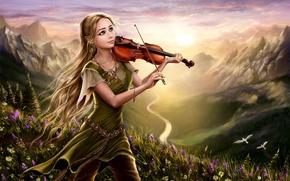 Картинка цветы, горы, арт, природа, скрипка, холм, птицы, фэнтези, девушка, рассвет, река