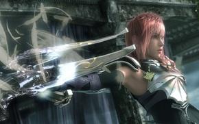 Картинка оружие, перья, lightning, final fantasy, доспех, xiii