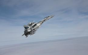 Обои реактивный, обои, российский, многоцелевой, сверхманевренный, 4++, самолёт, россии, окб, поколения, сухого, ввс, су-35с, истребитель, небо, ...