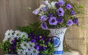 Картинка фиолетовый, букет, ткань, ваза, папоротник, ирисы, хризантемы, эустома