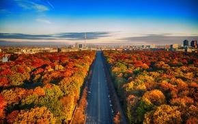 Картинка дорога, осень, небо, облака, Германия, горизонт, Берлин, Fernsehturm