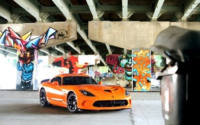 Картинка srt, viper, graffiti, dodge, muscle, power, front, america, orange, face, v10, street art