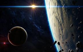 Картинка light, blue, planets, satellites, asteroids, Sci Fi