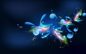 Обои волны, синий, музыка