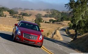 Картинка дорога, Cadillac, 2008, красная, GTS