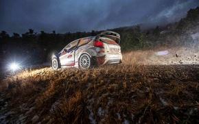 Картинка Ford, Вечер, Авто, Спорт, Свет, Гонка, Грязь, WRC, Rally, Ралли, Fiesta