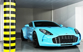 Картинка Aston Martin, суперкар, One-77, небесно-голубой