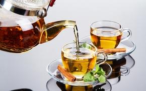Картинка чайник, стекло, отражение, чай, заварка, чашки, корица, мята