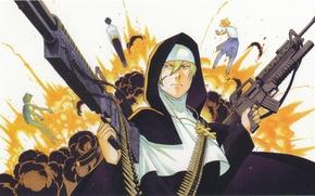 Картинка взрыв, крест, автомат, пулемет, патроны, монашка, art, sister, каппа.звезда, arakawa under bridge, ichinomiya kou, под …