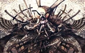 Картинка грудь, девушка, кресты, череп, крылья, аниме, корона, арт, iori