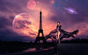Картинка девушка, вселенная, Paris