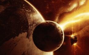 Картинка космос, огонь, планеты, Объект