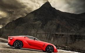 Обои красный, гора, концепт
