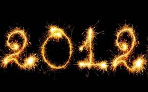 Картинка новый год, текстура, искры, черный фон, 2012, число, бенгальские огни