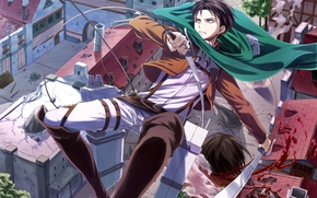 Картинка взгляд, город, оружие, злость, кровь, голова, падение, парень, art, shingeki no kyojin, rivaille, angel31424