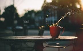 Картинка брызги, город, кофе, всплеск, чашка, кафе