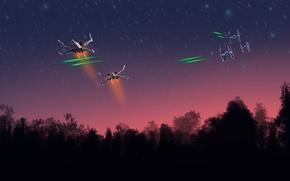 Обои star wars, starfighter, X-wing, TIE Fighter, ships
