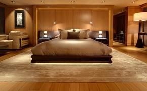 Картинка ковер, кровать, картина, кресло, подушки, постель, спальня, подсветка.