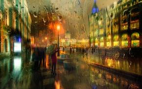 Картинка осень, девушка, город, огни, зонтик, улица, дома, Санкт Петербург