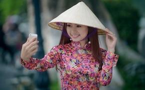Картинка улыбка, настроение, азиатка, селфи