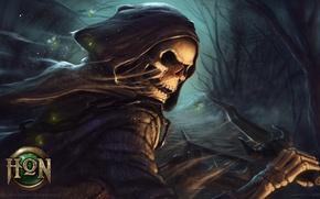 Картинка лес, череп, сумрак, кинжал, цепи, плащ, одеяние, Heroes of Newerth