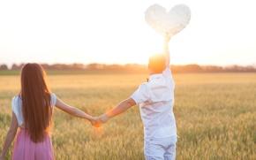 Картинка поле, девушка, любовь, природа, фон, обои, настроения, женщина, сердце, пара, wallpaper, мужчина, колосья, girl, love, ...