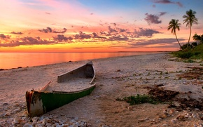 Обои песок, море, пляж, пейзаж, закат, природа, океан, лодка, каноэ