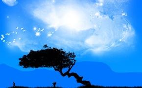 Картинка птицы, люди, дерево, Вектор