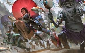 Картинка девушка, фантастика, духи, гейша, кимоно, призраки, asian, колокол