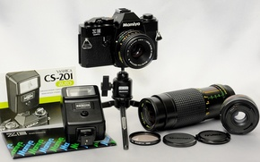 Картинка фон, вспышка, кольца, фотоаппарат, зеркальный, 35мм, штатив, плёночный, телеконвертор MC4 Осава, объективы Mamiya-E 50mm Sekor …