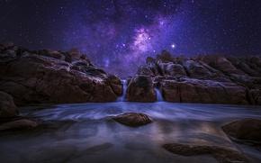 Обои западная австралия, ночь, океан, скалы
