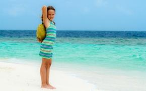 Картинка пляж, отдых, девочка, Manfred Sket, heavy weight