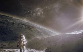 Картинка солнце, космос, поверхность, свет, скафандр, шлем, астронавт