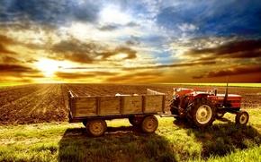 Обои небо, трактор, поле, телега