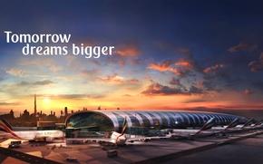 Картинка Закат, Солнце, Небо, Облака, Самолет, Аэропорт, Здание, Дубай, Много, A380, Пассажирский, Airbus, Терминал, Авиалайнер, Emirates …