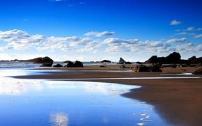 Картинка камни, берег, Облака