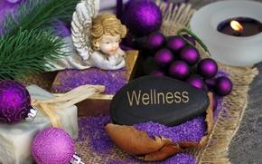 Обои Новый Год, ангел, украшения, Рождество, angel, balls, wellness, Christmas, New Year, шары, decoration