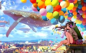 Обои шарики, арт, neko, дома, пузыри, catteeth, наушники, аниме, город, девушка, небо, облака, кот