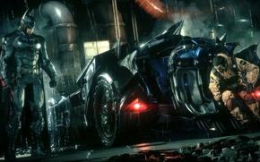 Картинка City, Batman, Batmobile, Бетмен, Arkham Knight