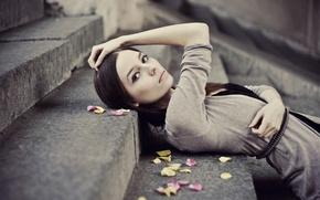 Картинка листья, Девушка, красивая