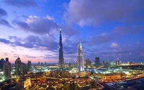 Картинка ночь, город, Dubai, night, Burj Khalifa