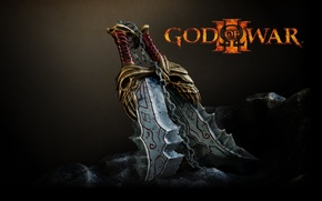 Картинка sword, Kratos, God of War, rocks, stones, God of War 3, chains, Ares, by stefanmarius, …