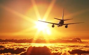Картинка небо, солнце, облака, лучи, самолет, красота, летит