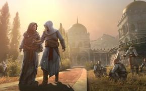 Картинка крепость, Assassin's Creed, Revelations, Masyaf, город Масиаф, Альтаир ибн Ла-Ахад — ассасин, протагонист эпохи Средневековья …