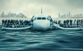 Обои постер, Чудо на Гудзоне, аварийная, самолет, Гудзон, посадка, залив, город, биография, Sully, драма, река, пассажиры, ...