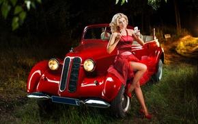 Картинка лес, красный, ретро, цвет, Девушка, автомобиль, пин-ап