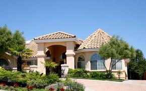 Картинка дизайн, дом, солнечно, особняк, кусты, газоны