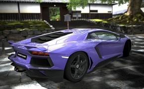 Картинка lamborghini, вид сзади, ламборджини, фиолетовая, aventador, purple, авентадор
