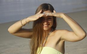 Картинка море, девушка, улыбка, фон, обои, настроения, прогулка
